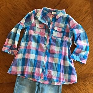 Other - Girls plaid 3/4 sleeve top $22